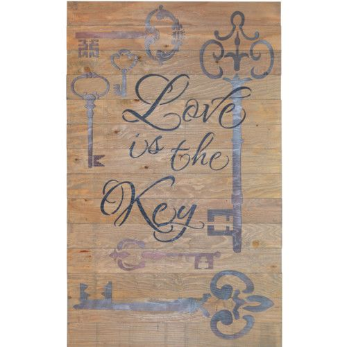 Found it at Wayfair - Crate Sign 'Love Is The Key' by Denise Walsh Textual Art on Plaque