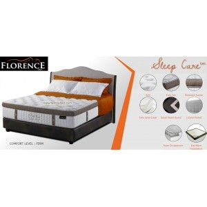 SLEEP CARE Florence Springbed SERI : Prestige Living Mattress thickness : 37.5 cm Headboard : Durante tinggi 140 cm Foundation : Prestige 24 cm Comfort Level : Firm - See more at: http://www.kasurspringbed.com/florence-springbed/569-sleep-care-florence-springbed.html
