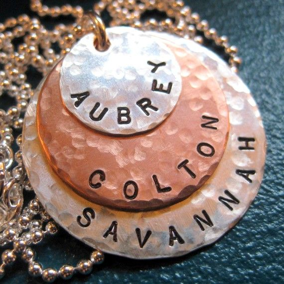 Hand Stamped Necklace - THREE Layers with Sterling Silver/Copper - Name Necklace - Personalized Charm Necklace - Great Gift for Mom
