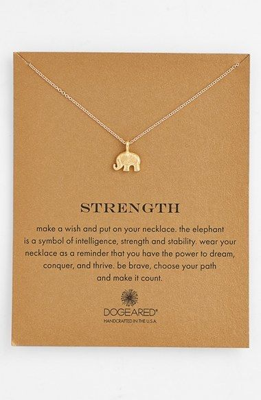 Love this sweet gentle reminder. (And because elephants. Always.) :: 'Reminder - Strength' Pendant Necklace