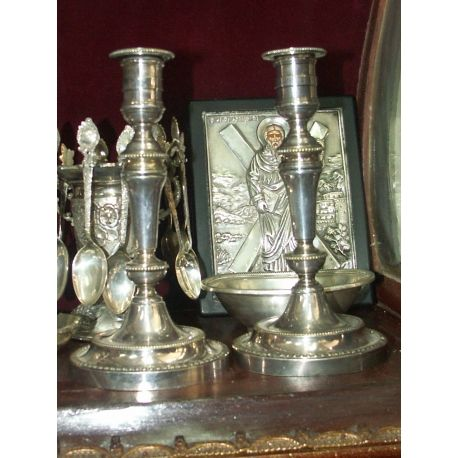 "Pair of Authentic Antique Christofle French Candlesticks. circa 1880`s.  Candlesticks measure: 6.5""tall each, 3.5""diameter of base and 2""diameter at top opening. Hallmarked by Christofle on bases edges as seen on photos. A charming pair of candle holders which would make a stunning accent piece in your home!"