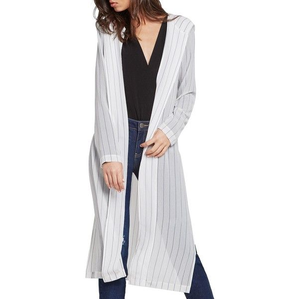 BCBGeneration Stripe Hooded Duster Cardigan ($52) ❤ liked on Polyvore featuring tops, cardigans, optic white combo, long cardigan, long white top, white cardigan, long white cardigan and long length tops