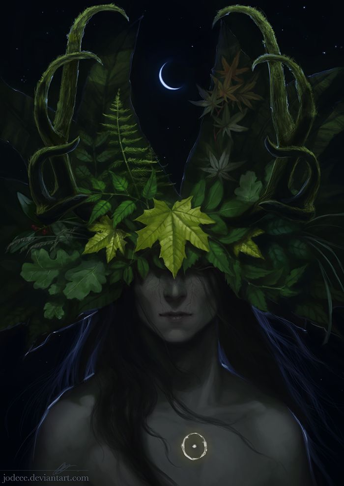 The Green Man is the original Prince of Earth, representing vegetation , he was born of the soil and soul of the Great Mother - connections to Cernunous ( including Druidic connections to Merlin)