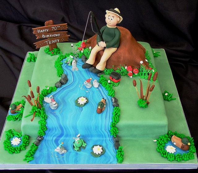 Fishing cake for 70th birthday by cake head creations for 70th birthday cake decoration ideas