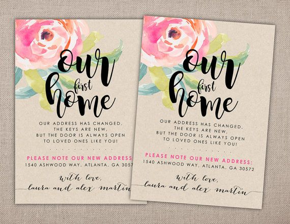 Our first Home, Moving Announcement, Printable Card, Invitation, Housewarming, Craft Paper, Floral, Flowers, Modern, Rustic, Shabby Chic