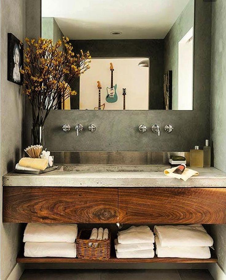 E o cimento queimado também chega ao banheiro. Além de ser uma opção muito acessível o efeito é maravilhoso. Ah e você pode renovar o seu ambiente só mudando a cor da tinta. Adoroooo!!!!!