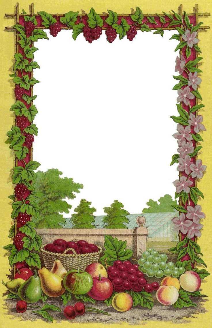 Antique Images: Free Fruit Clip Art: Decorative Frame from Antique Seed Catalog: