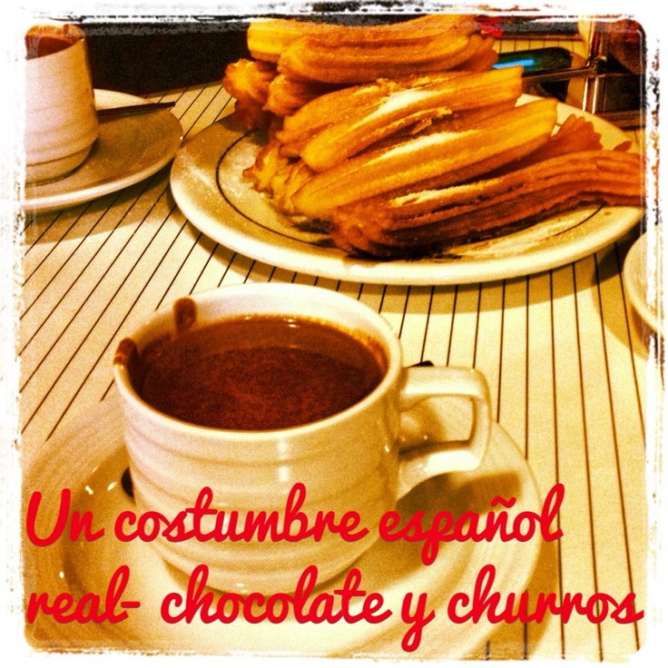 A Spanish custom - Chocolate and 'churros' - thick hot chocolate and fried dough pasties.