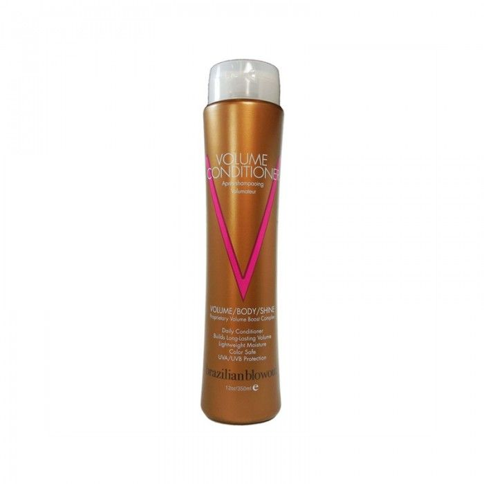 BRAZILIAN BLOWOUT VOLUME CONDITIONER 350ML - olume Conditioner is a lightweight conditioner that provides vital moisture and nutrients without weighing hair down. An exclusive Volume Boost Complex of body-building amino acids and proteins infuse hair with long-lasting volume while strengthening and protecting each strand. Detangles and defends against thermal styling.
