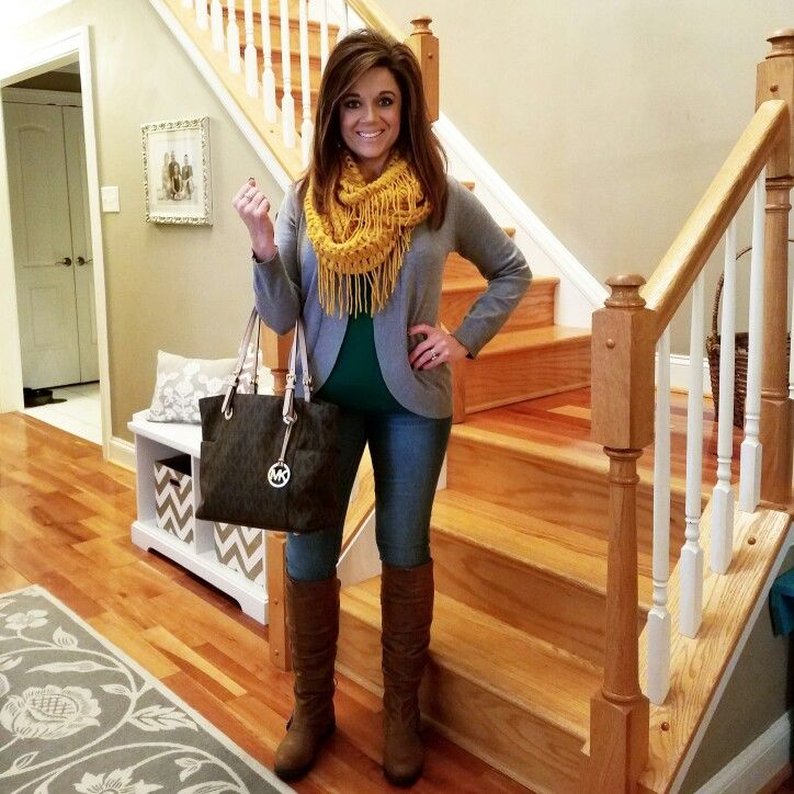 Style OOTD Outfit Ideas What to wear Womens Fashion Trendy Style Watch Jeggings Skinny Jeans Kelly Green Cardigan Loop Scarf Fringe Scarf Mustard Yellow Fall Fashion Knee Boots MK Michael Kors @bwc4me