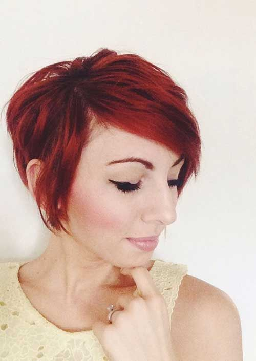 Short Red Layered Pixie