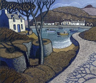 I used to visit Wales a lot. I really like the way this artist depicts the country - a quiet and serene place. Artist: Chris Neale; Title: Abergwaun; Medium: this is a print.