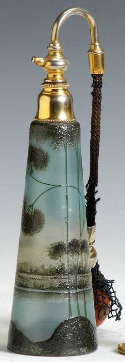 Perfume Bottle & Atomizer; Cameo Glass, Landscape, Enameled, 8 inch, 1875-1925
