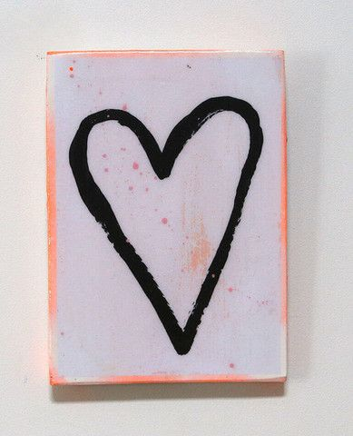 A4 Large Rectangle Tile - Orange Heart
