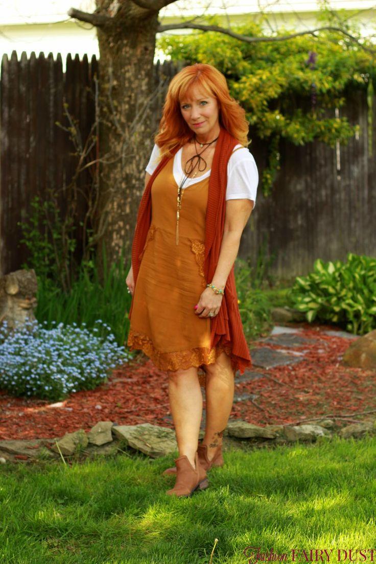Fashion Fairy Dust style blog:slip dress, lace vest, ankle boots