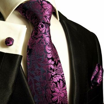 Paul Malone Silk Tie Set - Purple Floral Pattern (688CH)