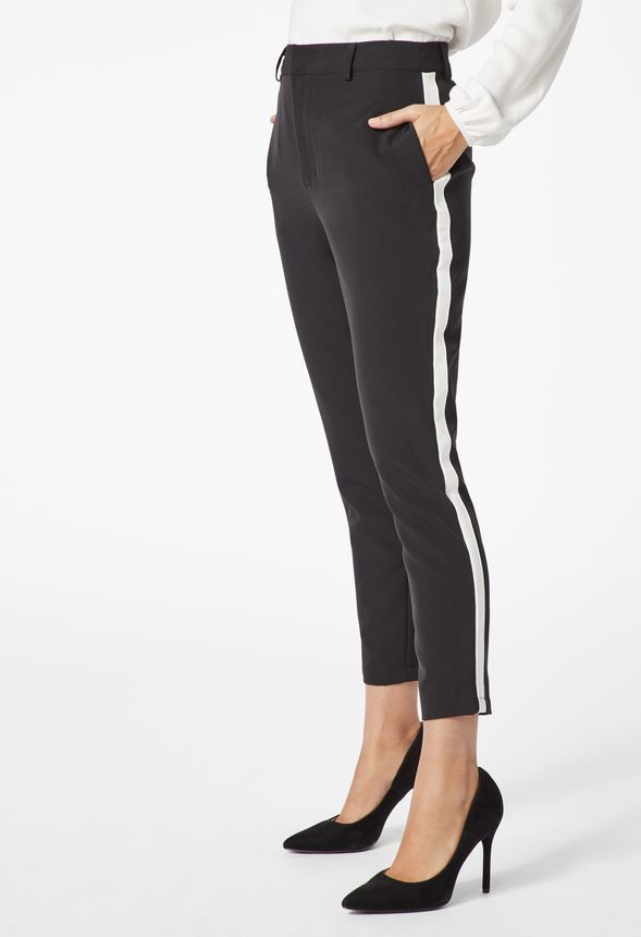 aad60895bab0e Side Stripe Trouser Pants in BLACK/ WHITE - Get great deals at JustFab