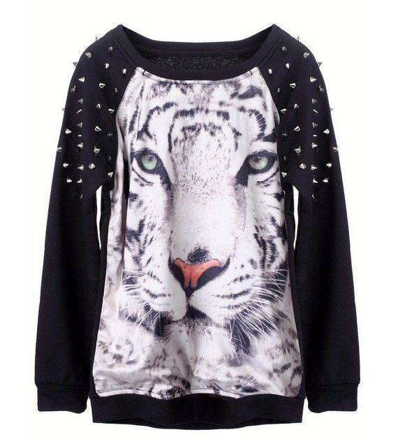 [Фуллер] модели взрыва в Европе и Америке женщин 3D животное тигр шаблон персонализированные ручной бисером шпильки тенденция свитер - Taoba...