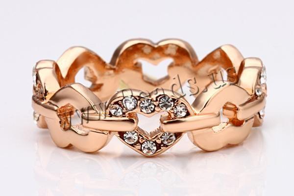 Favourer® Bague, alliage de zinc, coeur, Plaqué d'or rose, multiple tailles pour le choix & avec strass, protéger l'environnement, sans nickel, plomb et cadmium, 6mm, Vendu par PC,perles bijoux en gros de Chine
