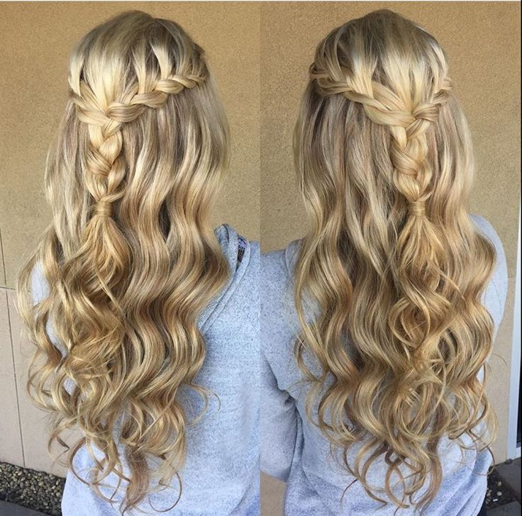 Blonde braid prom formal hairstyle half up long hair wedding updo