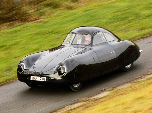 This is the Porsche Type 64. This is considered to be the first Porshe and dates back to 1938 when Ferdinand decided to set a VW 60K 10 to compete in the Berlin-Rome Road Race. The start of WWII spoiled its debut but this was also the first time, the newly developed alloy accled alluminum, was used in this industry.
