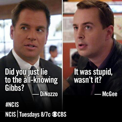 Tony DiNozzo: Did you just lie to the all-knowing Gibbs? Tim McGee: It was stupid, wasn't it? NCIS quotes