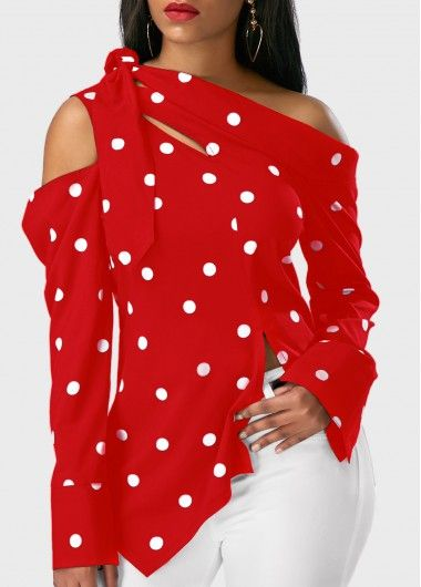 Long Sleeve Polka Dot Print Asymmetric Hem Red Blouse | Rosewe.com - USD $27.75