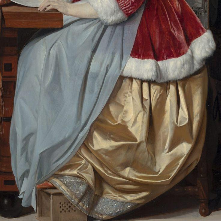"""Gabriël Metsu was een ware meester in het weergeven van stoffen.  Kijk maar eens hoe prachtig het zachte fluweel en bont van het jasje hier afsteekt tegen het glanzende satijn van de jurk. Zelfs met je neus op het schilderij kun je nauwelijks een penseelstreek ontdekken.  Gabriël Metsu, """"Een jonge vrouw die muziek schrijft"""", c. 1662 - 1663. Nu te zien. https://www.mauritshuis.nl/nl-nl/verdiep/de-collectie/kunstwerken/een-jonge-vrouw-die-muziek-schrijft-94/"""