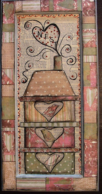 """Birds Of A Feather""- Mixed  media  collage using  scrapbook papers  and vintage text  starting  on  a  cupboard  door (tutorial)"