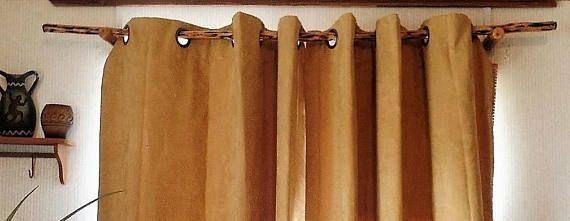 70 90 Wood Curtain Rod Natural Wood Curtain Rods Rustic