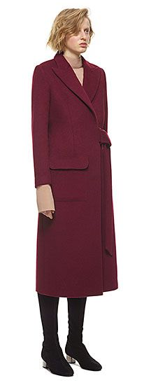 Wool-blend Burgundy Coat