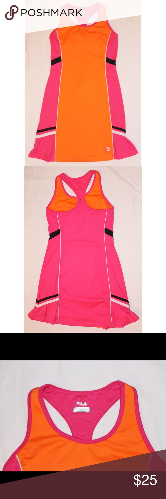 Fila Neon Pink & Orange Racerback Tennis Dress Preowned. Has support bra in the inside. Fila Dresses