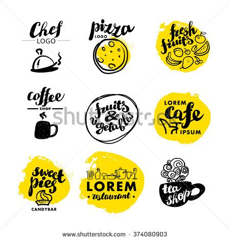 Hand written font lettering. Cute hand drawn logo template. Good for cafe, bar, pizza, catering, restaurant insignia, print, menu cover, any advertising, leaflet, flyer, card design. Font design.