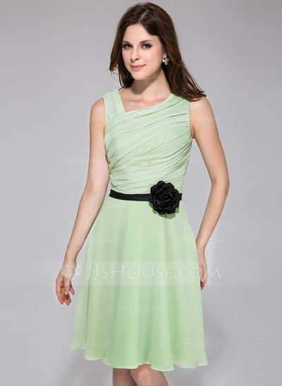 I like this too, but not too sure about the flower... Bridesmaid Dresses - $96.99 - A-Line/Princess Knee-Length Chiffon Charmeuse Bridesmaid Dress With Ruffle Sash Flower(s) (007026085) http://jjshouse.com/A-Line-Princess-Knee-Length-Chiffon-Charmeuse-Bridesmaid-Dress-With-Ruffle-Sash-Flower-S-007026085-g26085?ver=0wdkv5eh