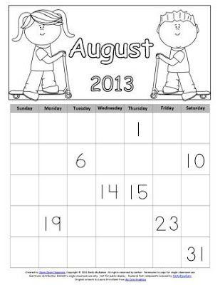Free August Calendar Skills Printables (LIMITED TIME)