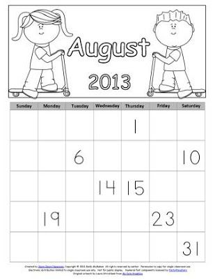 Free August Calendar Skills Printables (LIMITED TIME)