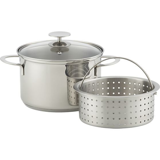 Stainless 4 qt. Vegetable Steamer by Berndes for Crate and Barrel in 20% off Crate & Barrel Cookware | Crate and Barrel