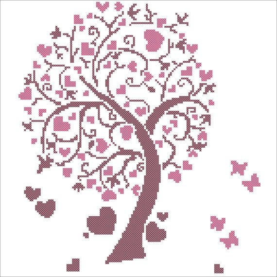 Heart Tree Counted Cross Stitch Embroidery Picture!    Size:  131w X 147h Stitches  23.77w X 26.67h cm  9.36w X 10.51h in      ************** Please