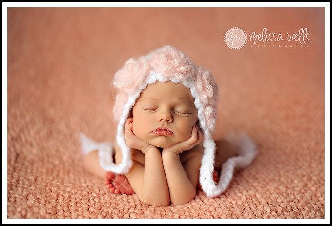 Handmade Crochet Baby Girls Rose Flapper Bonnet / UK Seller. £29.00, via Etsy.