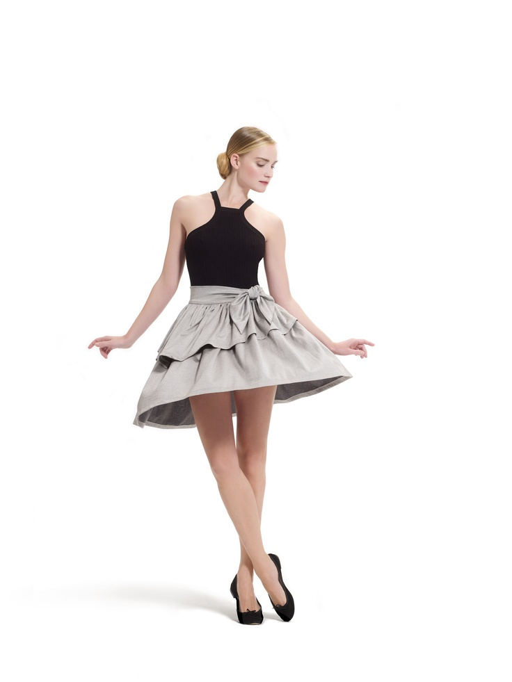 Skirt with frills in silvery jersey and tank top with thin straps by Repetto - Collection spring-summer 2013