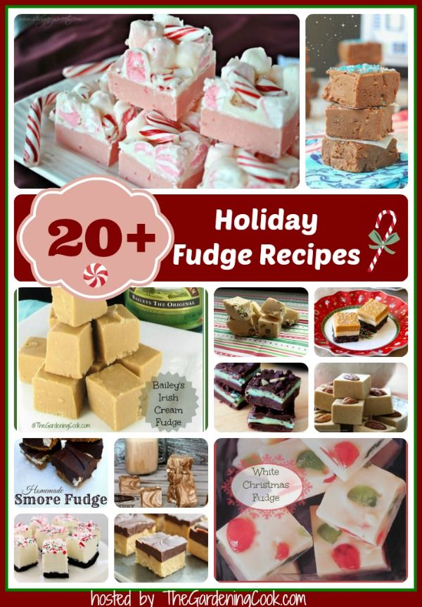 Over 20 delicious holiday fudge reipes - hosted by thegardeningcook.com/holiday-fudge-recipes