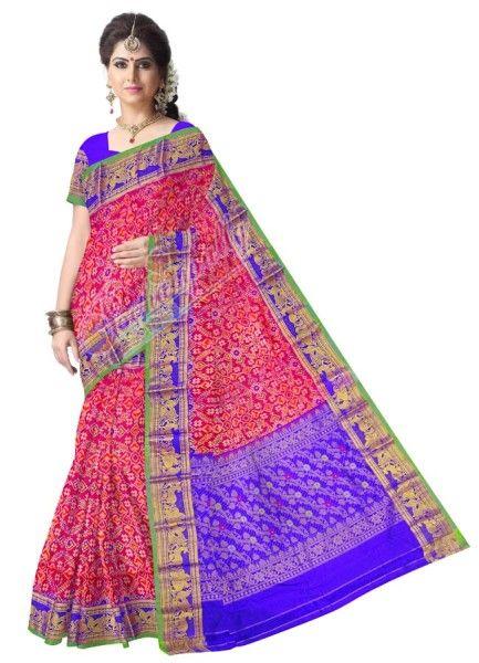 ikat kanchi pinc color saree
