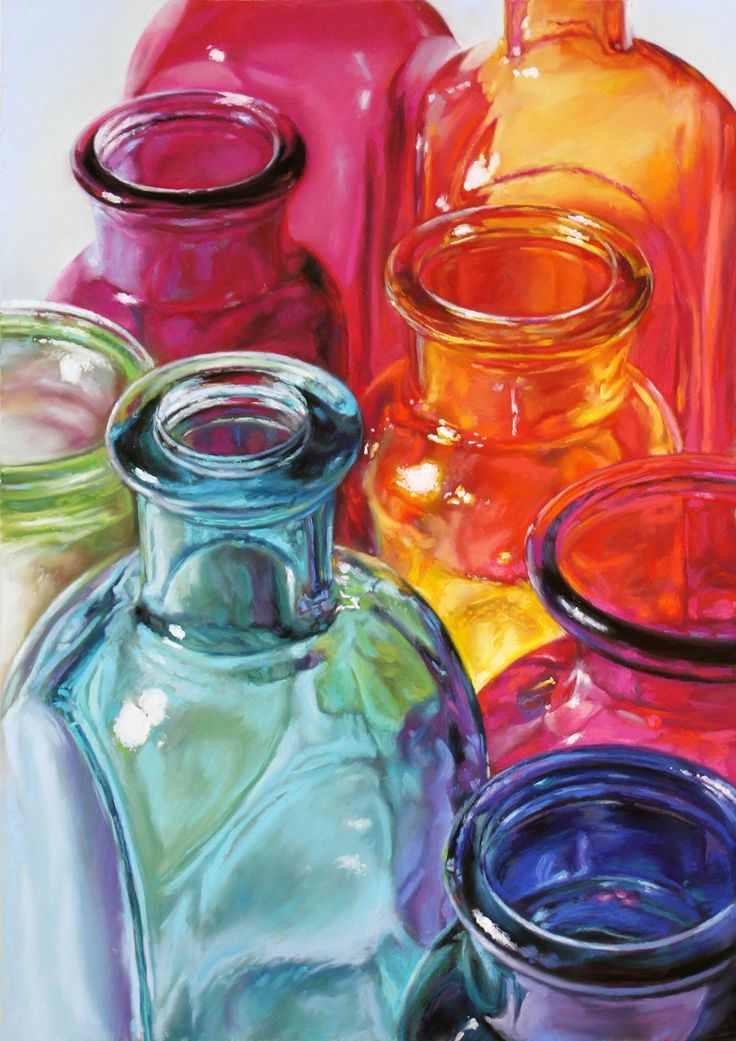 """""""Standing Room Only"""" is a pastel painting on board of colorful glass bottles. Lisa Ober, artist"""