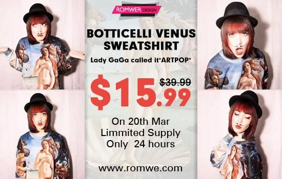"""Botticelli's Venus Sweatshirt you have never seen before! http://www.romwe.com/the-birth-of-venus-print-sweatshirt-p-71776.html On 1am 20th March GMT, Romwe """"the Birth of Venus"""" Sweatshirt will be sold at the price of $15.99, whose original price is $39.99. Only on March 20th, only 24 hours! Worldwide free shipping, shipped in 24 hours. More than 3000 customers have already added it to the shopping cart. Want a free one?? Click romwe facebook page to get a free one!! >>>http://goo.gl/5tQlf2"""