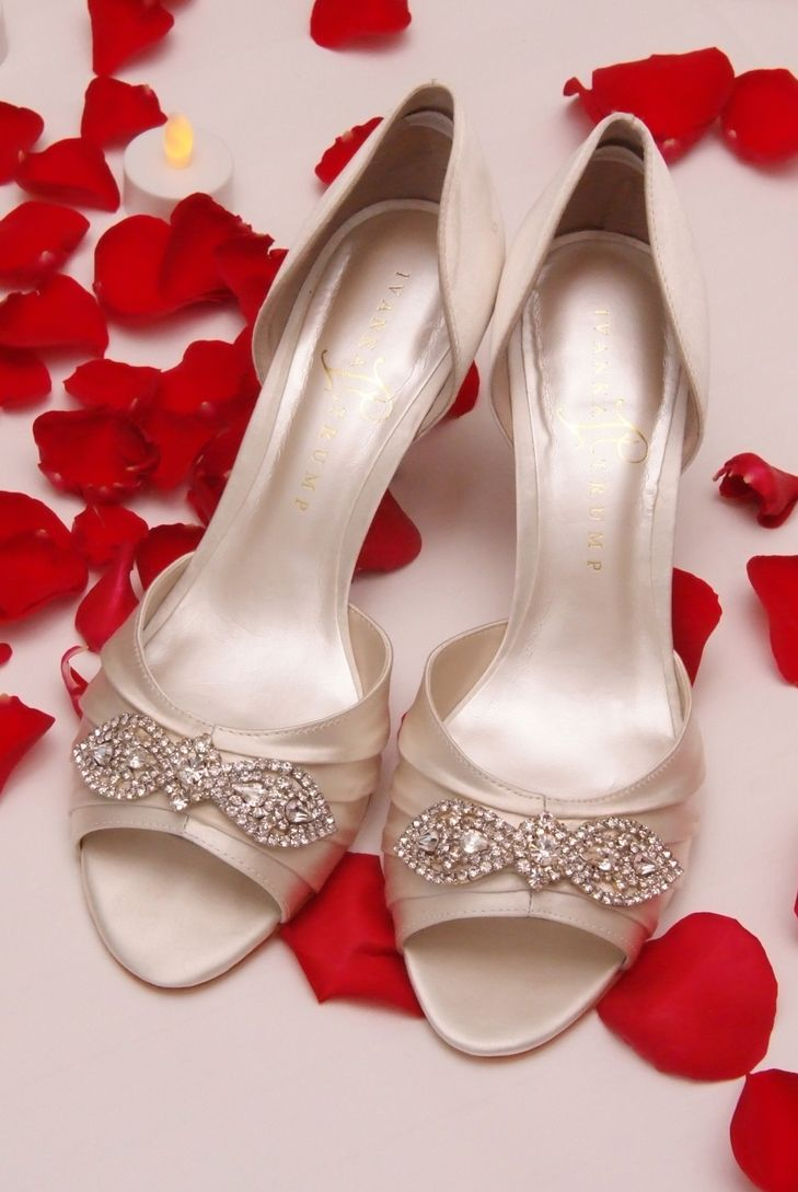 Ivory Ivanka Trump Peep-Toe Wedding Shoes | Tonya Malay Photography https://