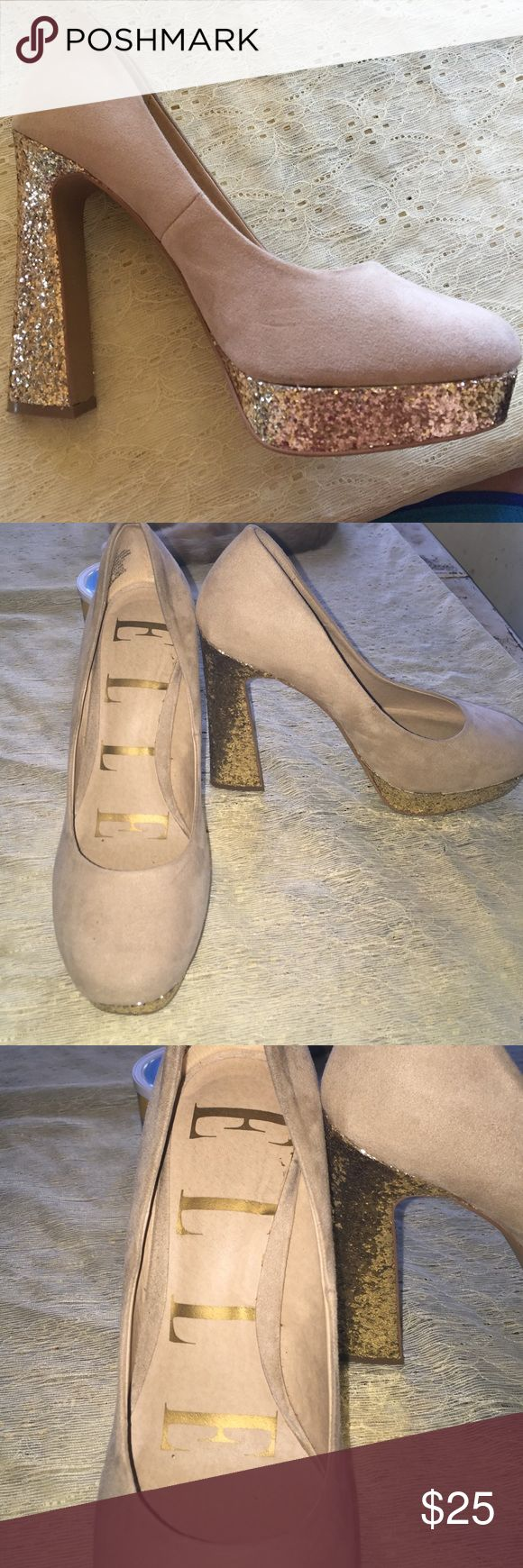 Elle Tan suede high heels with gold glitter Tan suede high heels from Elle. Size 8. Gold Glitter bottom. Very comfortable. Gently worn. Elle Shoes Heels