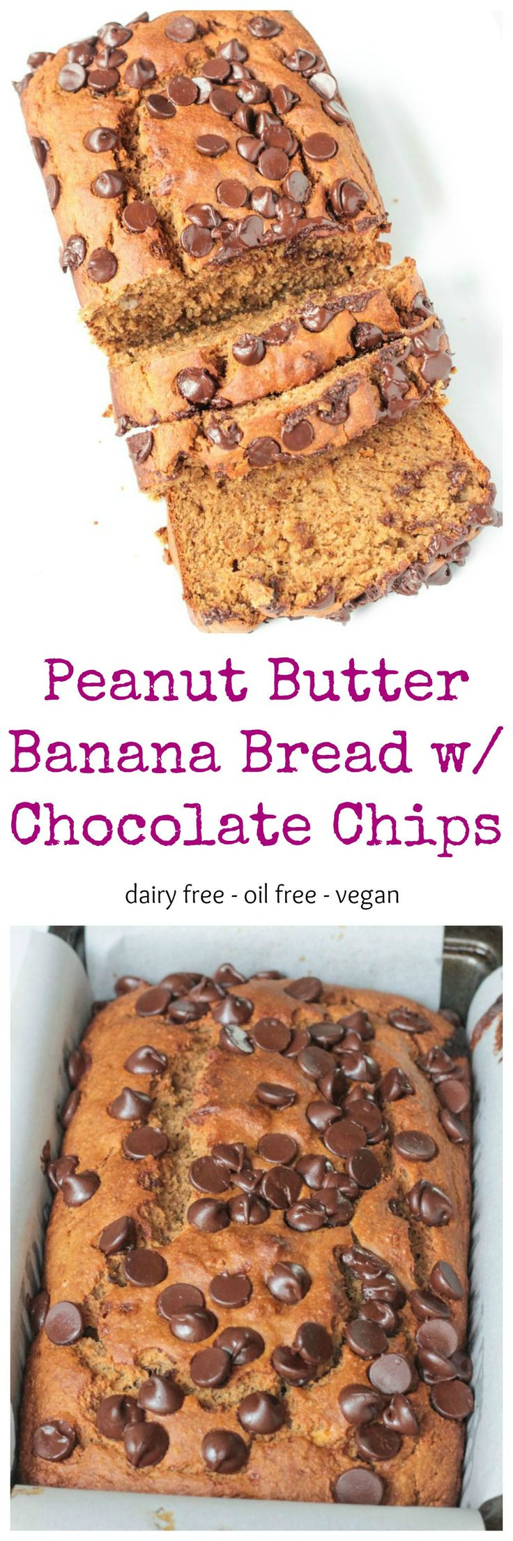 Peanut Butter Banana Bread w/ Chocolate Chips - a healthy quick bread your whole family will love! This egg free bread rises just like traditional bread. No one will guess it's vegan! Dig in!! #quickbread #bananabread #peanutbutter #healthy #chocolatechips #vegan #nooil #oilfree #dairyfree