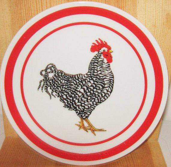 Plate With Rooster Signed Curzon, Dish With Rooster, Plate, Bird,