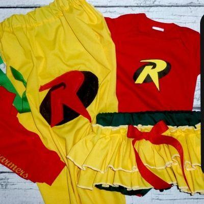 Girls robin costume, 4pc baby superhero costume, toddlers, halloween superhero costume, batman, marvel comic, comic con