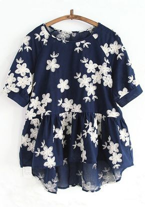 Navy Blue Flowers Embroidery Short Sleeve Blouse